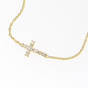 Small Cubic Zirconia Sideways Cross Necklace - Taylor Jacobson, Kelly Ripa Celebrity Jewelry