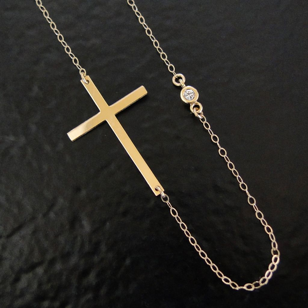 "14K Gold Kelly Ripa Sideways Cross Necklace With Genuine Diamond - 16"" Yellow or White Gold"