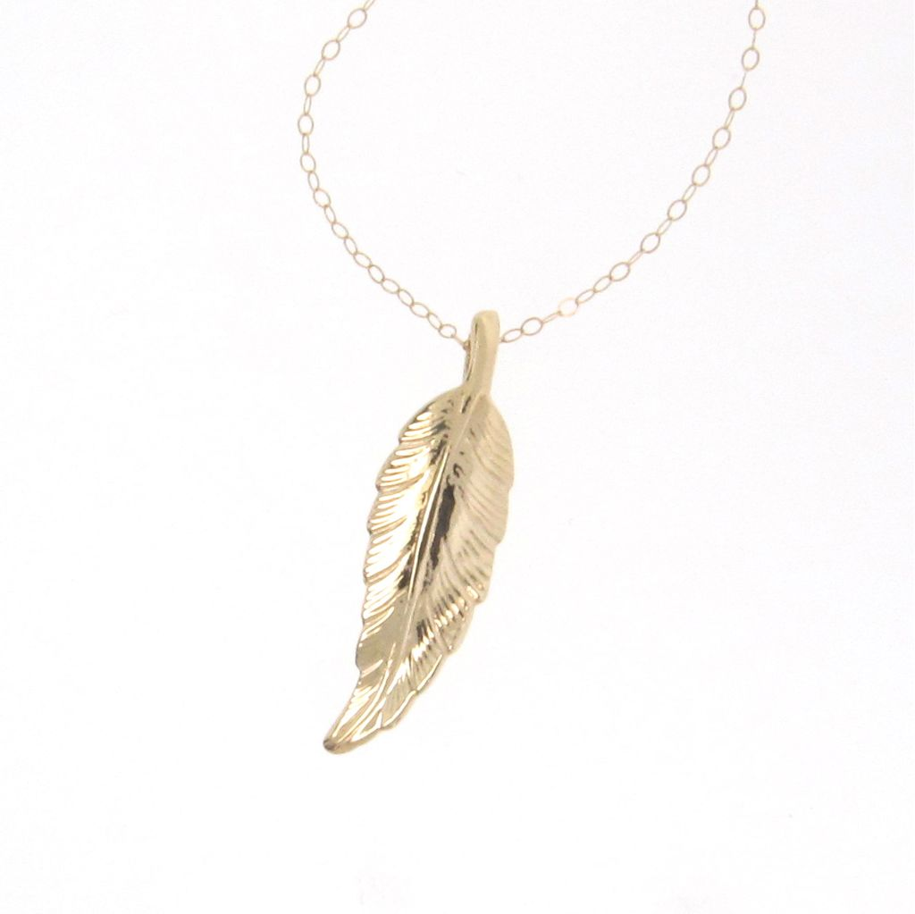 14K Solid Gold Leaf Necklace, as Seen on Jennifer Aniston And Courtney Cox, Celebrity Jewelry