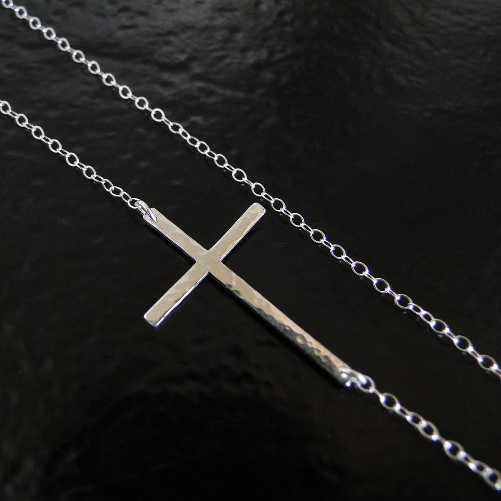 Sideways Cross Necklace- Hammered Sterling Silver, Off Center, Long And Sleek - As Seen On Kelly Ripa