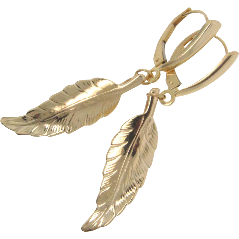 14K Solid Gold Leaf Earrings - Yellow, Rose, or White Gold - Celebrity Jewelry