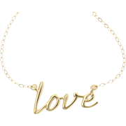 14k Gold Love Necklace - Simple and Romantic