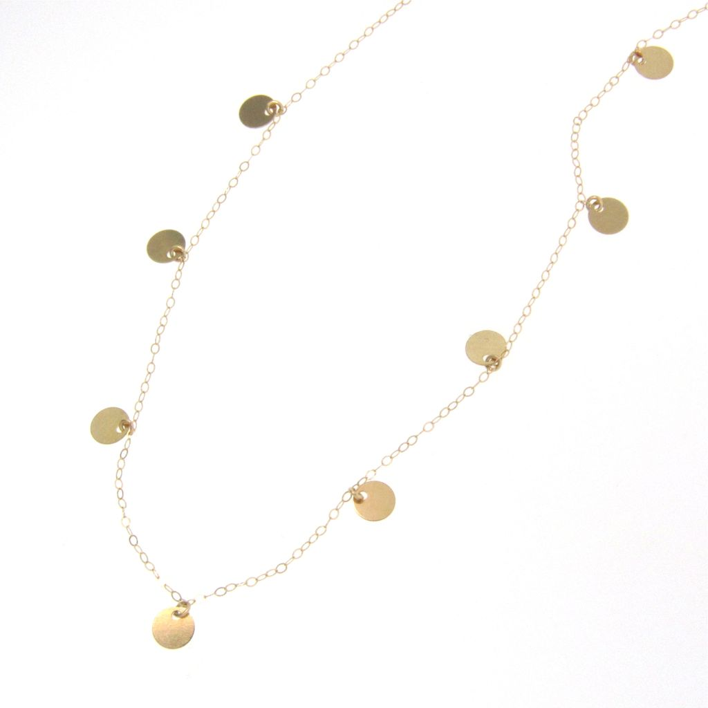 14K Gold Small Discs Necklace - Floating Dots - Simple And Dainty, 16""