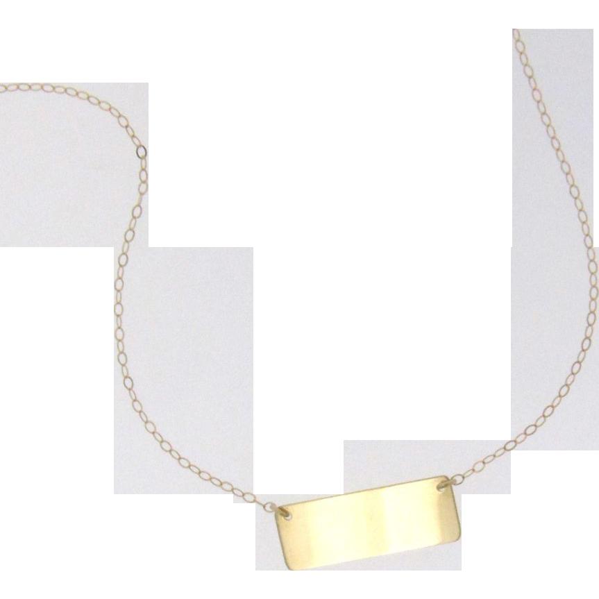 14K Gold Nameplate Necklace, Mariska Hargitay Style, Yellow, White, or Rose Gold