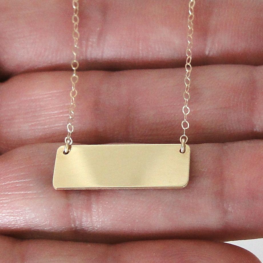 14K Gold Nameplate Necklace, Mariska Hargitay Style