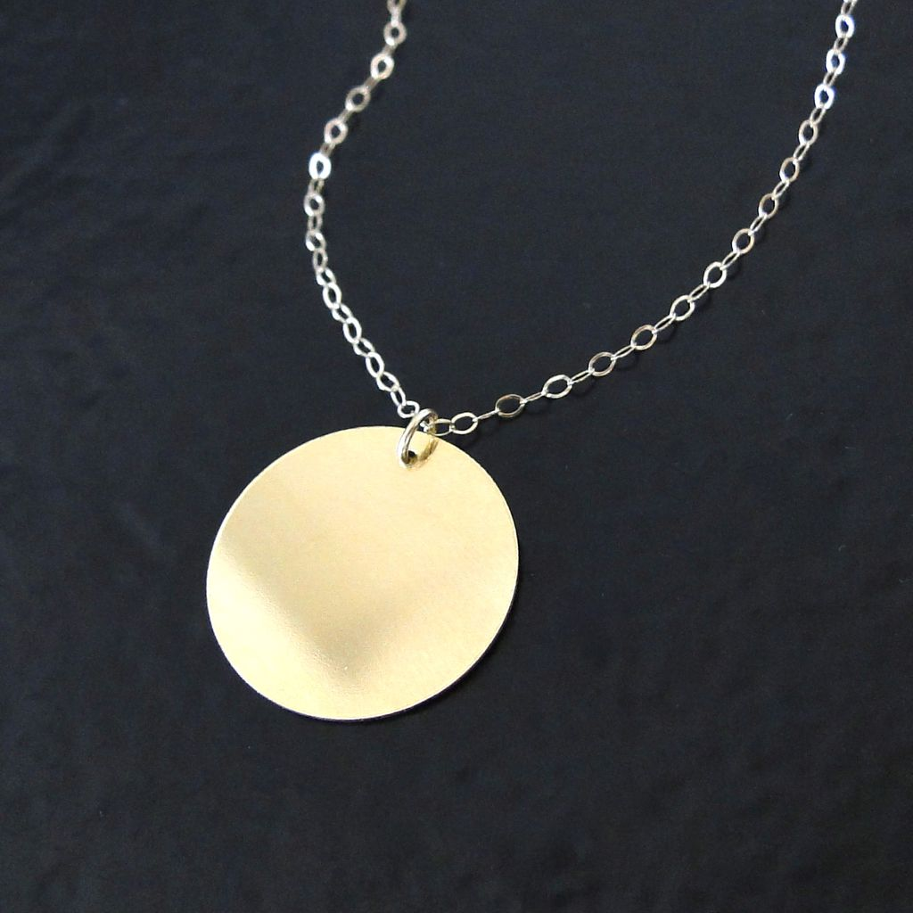 14K, 10K Solid Gold Engravable Disc Necklace - 16mm Circle, Coin Drop
