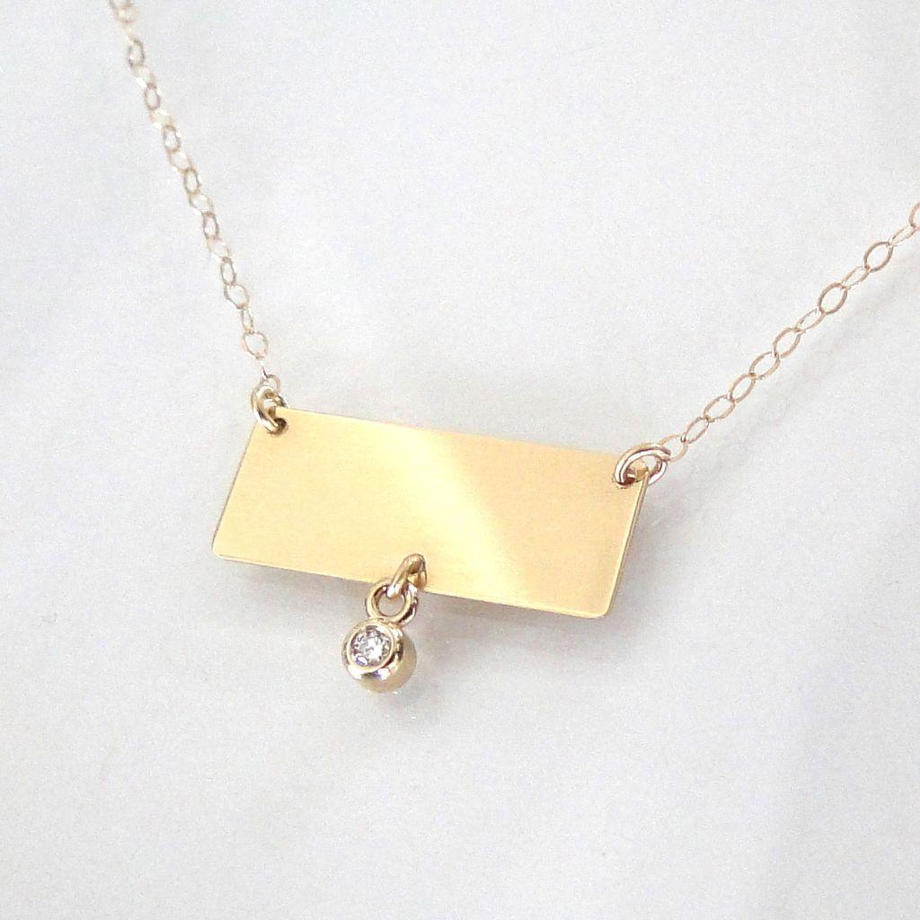 14k gold nameplate necklace rectangle with diamond drop yellow roll over large image to magnify click large image to zoom aloadofball Images