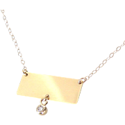 14K Gold Nameplate Necklace - Rectangle With Diamond Drop, Yellow or White Gold