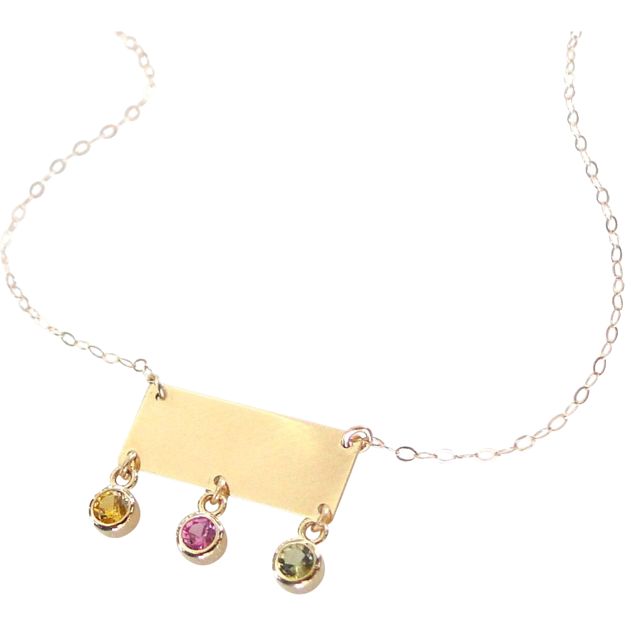 14K Solid Gold Small Rectangle Nameplate Necklace With Birthstones, Yellow or White Gold