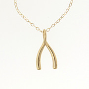 14K Gold Wishbone Necklace - As Seen on Jennifer Anniston - Make a Wish - Yellow Gold or White Gold