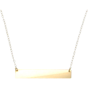 "14K Gold Nameplate Necklace, Yellow Gold 17 1/4"" Inches, As Seen on Kim Kardashian"