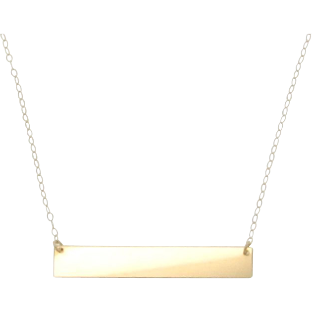 "14K Gold Nameplate Necklace, Yellow Gold 17 1/4"" Inches ..."