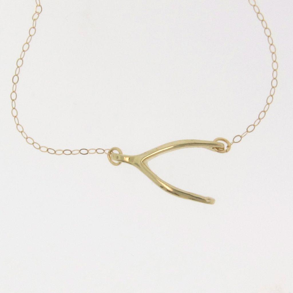 Sideways Wishbone Necklace 14k 10k Gold 16 To 18 Inch