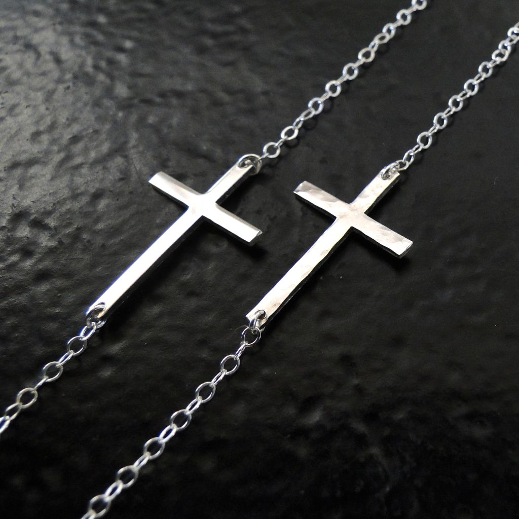 Kelly Ripa Sideways Cross Necklace, Hammered or Smooth, Sterling Silver, Small And Sleek