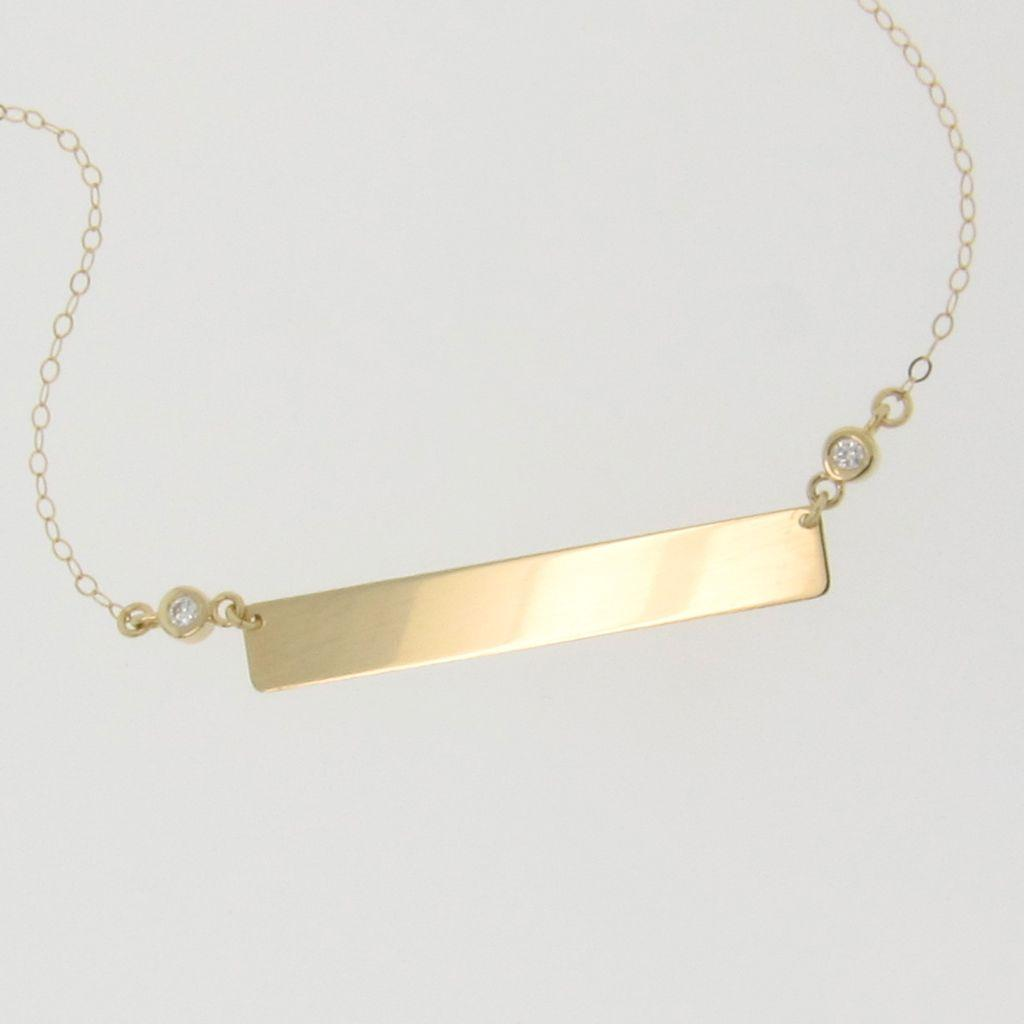 14k gold diamond nameplate necklace yellow gold 17 14 inches as roll over large image to magnify click large image to zoom aloadofball Images