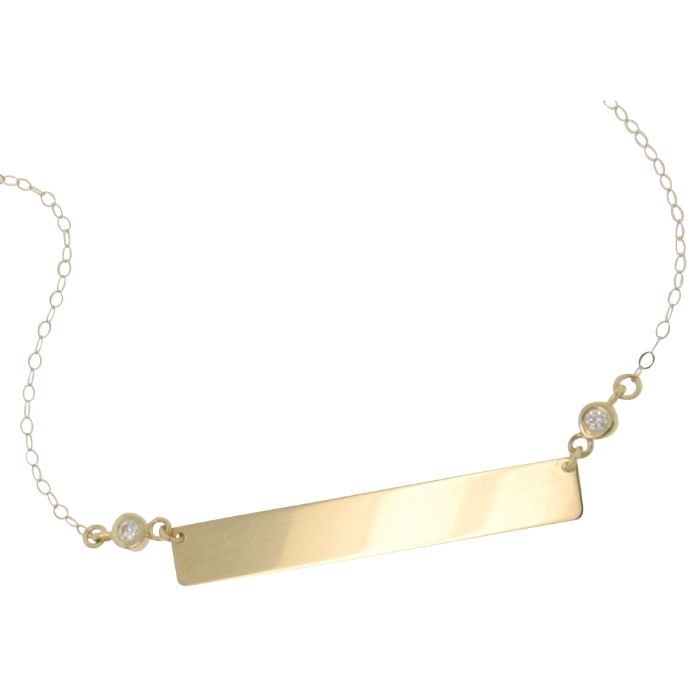 14K Gold Diamond Nameplate Necklace, Yellow Gold 17 1/4 Inches, As Seen on Kim Kardashian