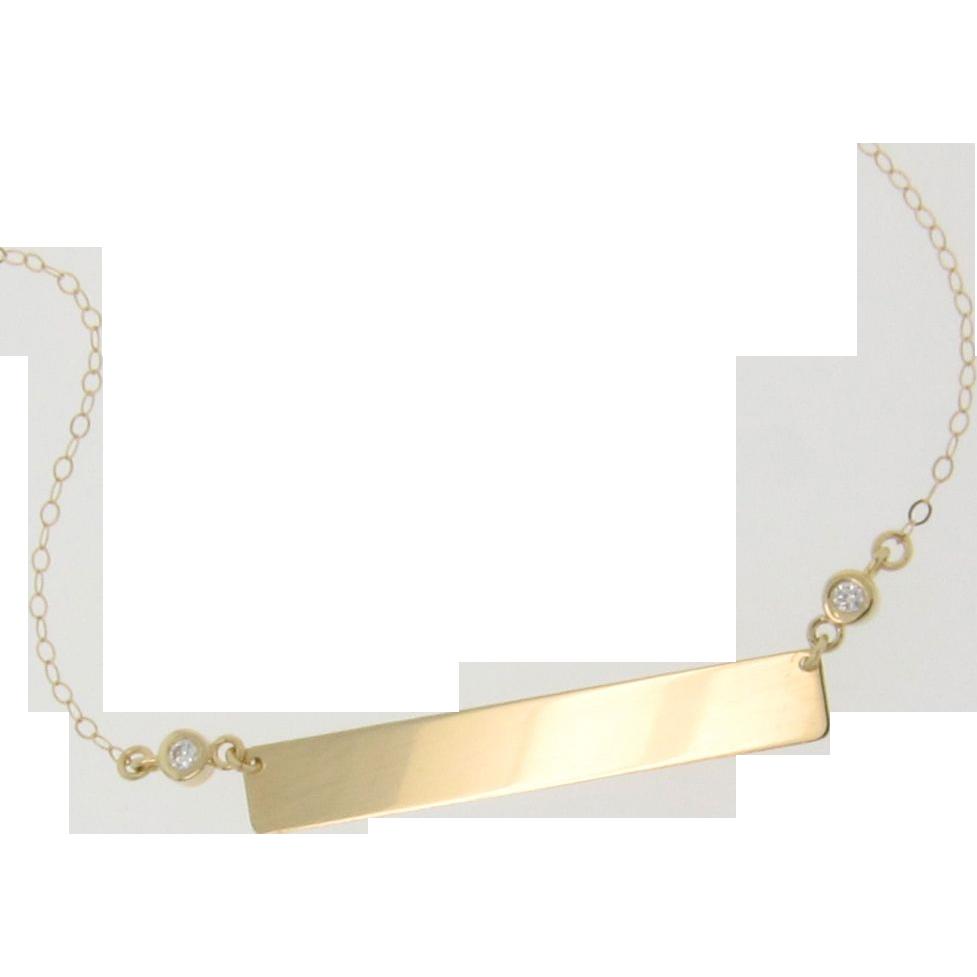 14K Gold Diamond Nameplate Necklace, Yellow Gold 17 1/4 Inches, As Seen on Kim Kardashian