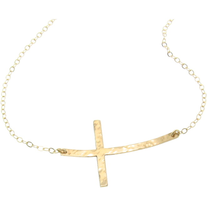New - CURVED Sideways Cross Necklace, 14K Gold Filled, Long and Sleek Kelly Ripa Cross
