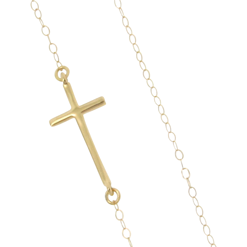 Sideways Cross Necklace, 14k Yellow or White Gold - Small, Sleek, And Subtle Set Off Center