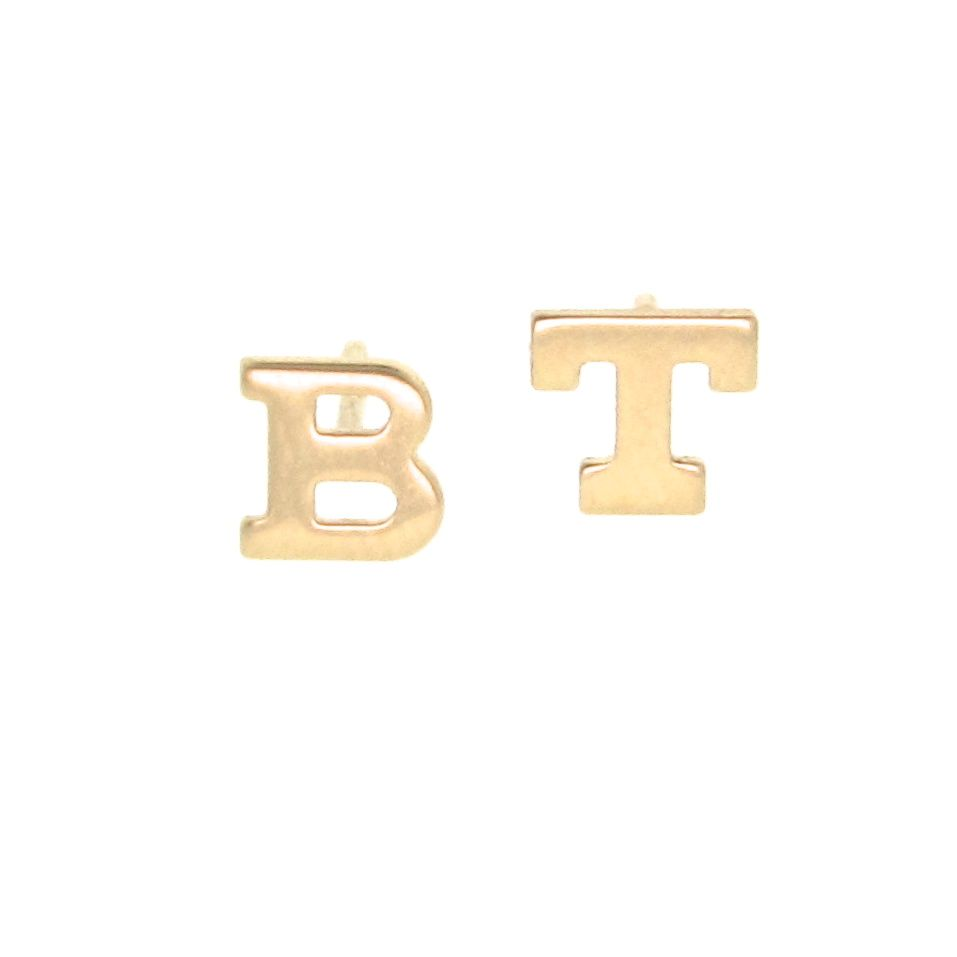 Roll Over Large Image To Magnify, Click Large Image To Zoom Expand  Description These 14k Gold Initial Earring Studs