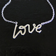 Sterling Silver Love Necklace - Simple and Romantic