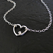 Sterling Silver And Genuine Diamond Open Heart Necklace