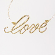 14k Gold And Diamond Love Necklace - Simple and Romantic