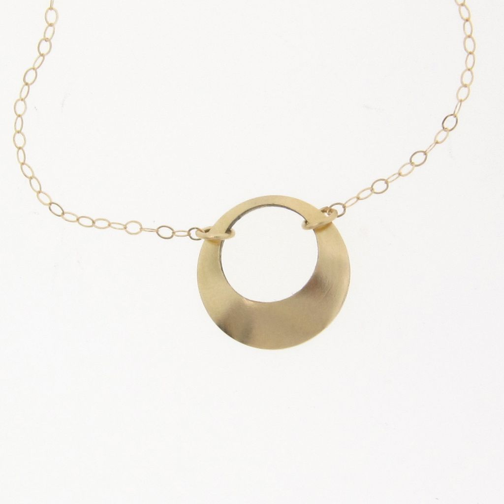 14K Solid Gold Open Circle Necklace
