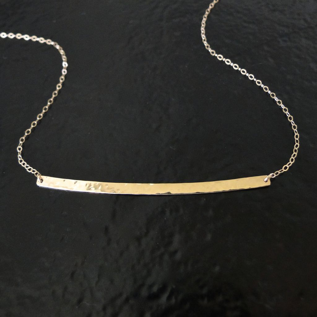 14K GOLD Curved Bar Necklace - Hand Forged, Hammered 14K Yellow Gold ...