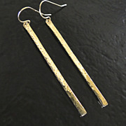 14K GOLD Bar Earrings As Seen On Elizabeth Banks, Hand Forged, Hammered 14K Yellow Gold