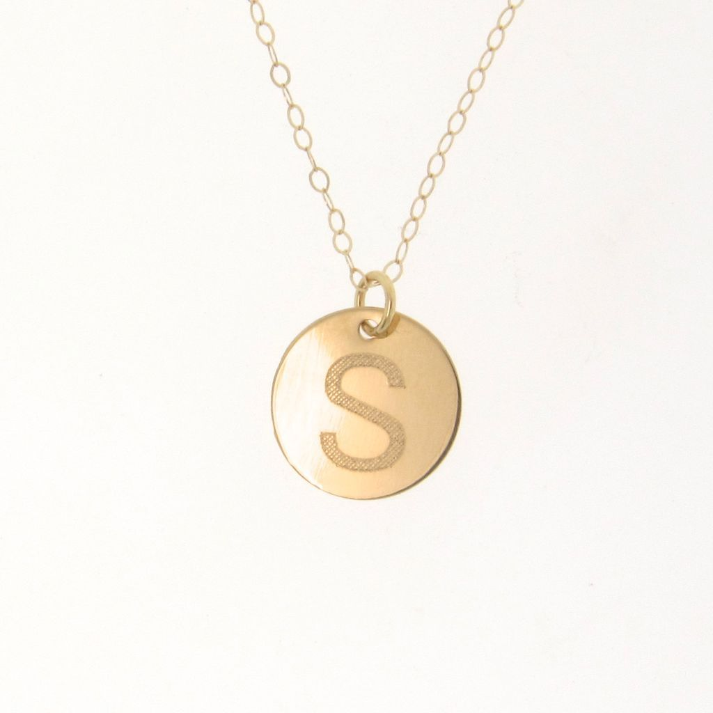 14K Solid Gold Personalized Initial Necklace - Your Initial, 11mm Disc, Hand Engraved, 16 or 18 Inch. Yellow or White Gold