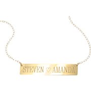 WILL ENGRAVE - 14K Gold Nameplate Necklace, Yellow Rose or White Gold, Name Plate As Seen on Kim Kardashian
