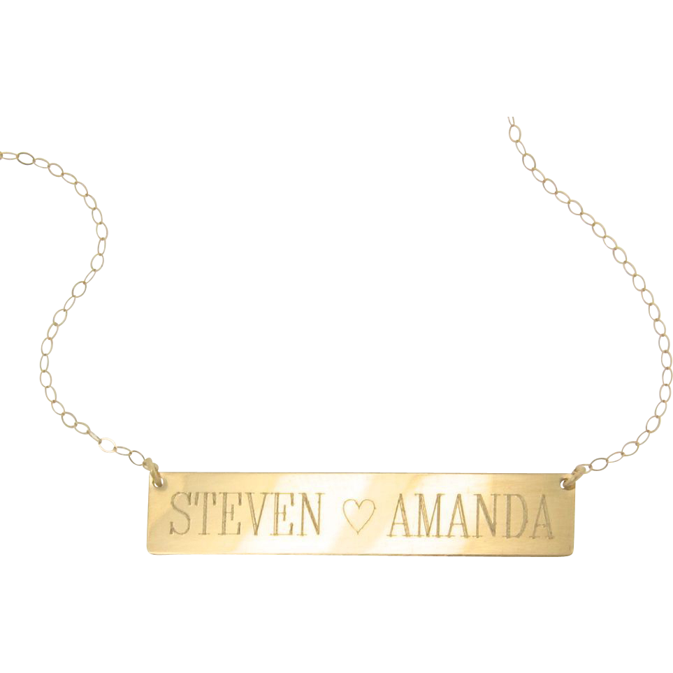 will engrave 14k gold nameplate necklace yellow rose or. Black Bedroom Furniture Sets. Home Design Ideas