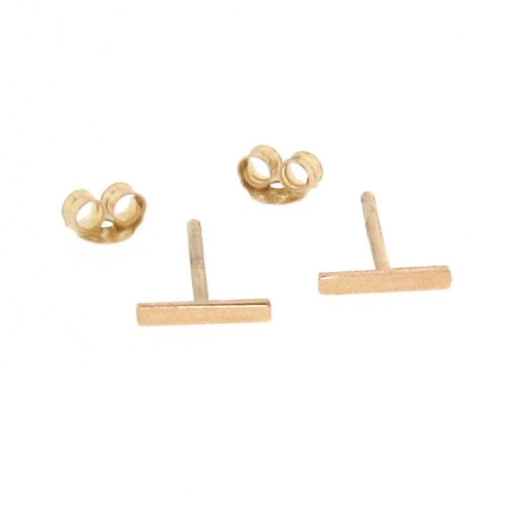 14k solid gold tiny bar earrings small line studs stud
