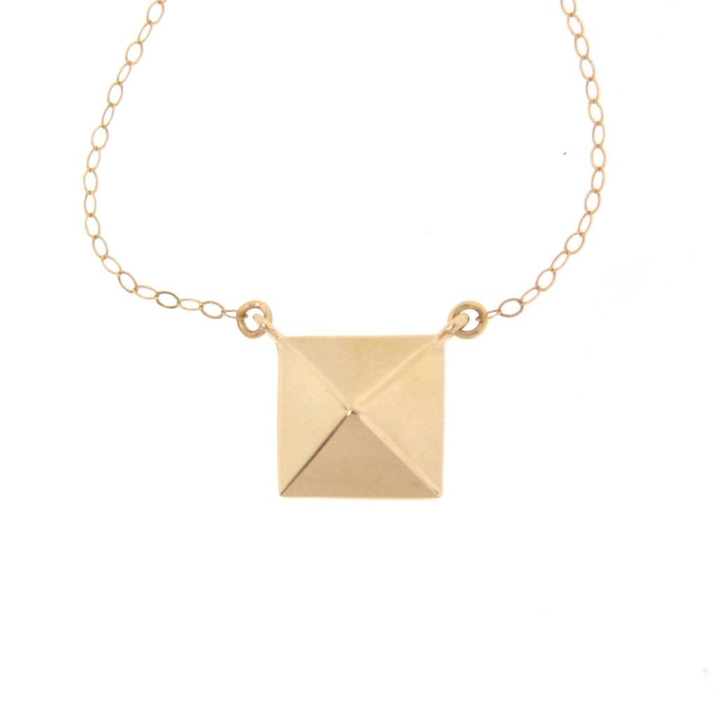 14k gold pyramid necklace square pendant celebrity style 14k 14k gold pyramid necklace square pendant celebrity style 14k solid theresa mink designs ruby lane mozeypictures Image collections