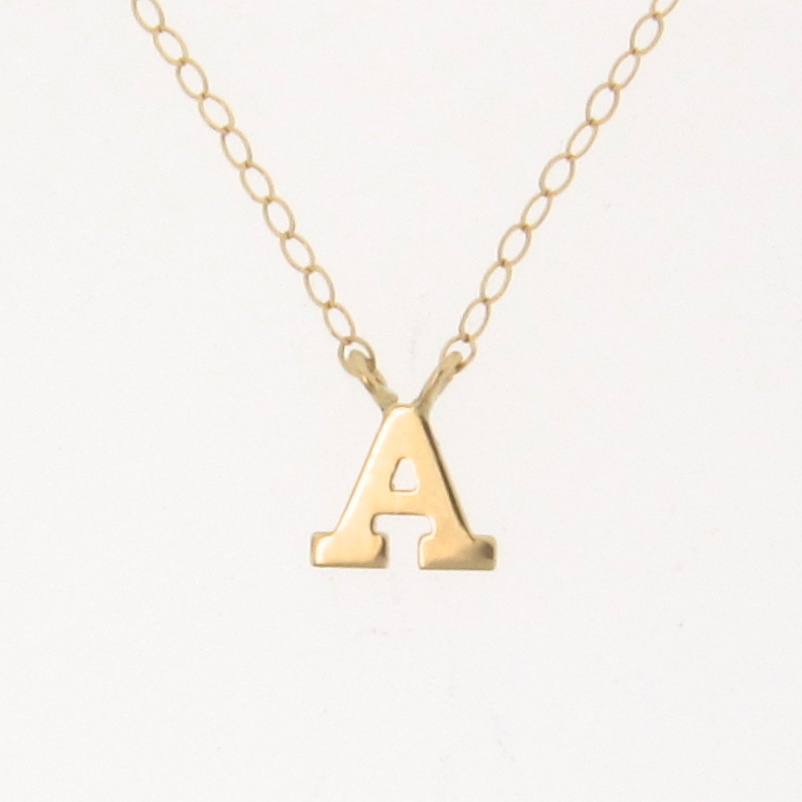 NEW! Tiny Initial Necklace, YOUR Letter, Personalized Necklace - 14K Solid Gold Ultra Feminine Initial Necklace