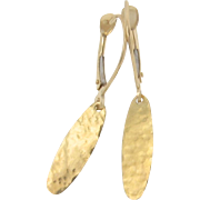 18k Gold Earrings, Artisan, Handcrafted, Hammered Oval Disc Drop Earring by Theresa Mink