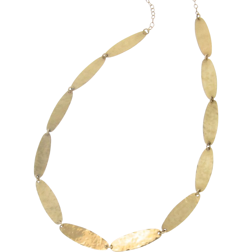 18k Gold Necklace, Artisan, Handcrafted, Hammered Oval Discs by Theresa Mink