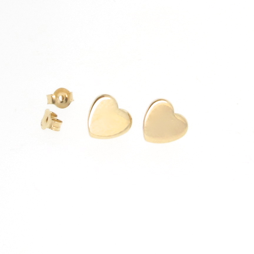 14k Gold Heart Earring Studs As Seen On Emma Stone Tiny Theresa Mink Designs Ruby Lane