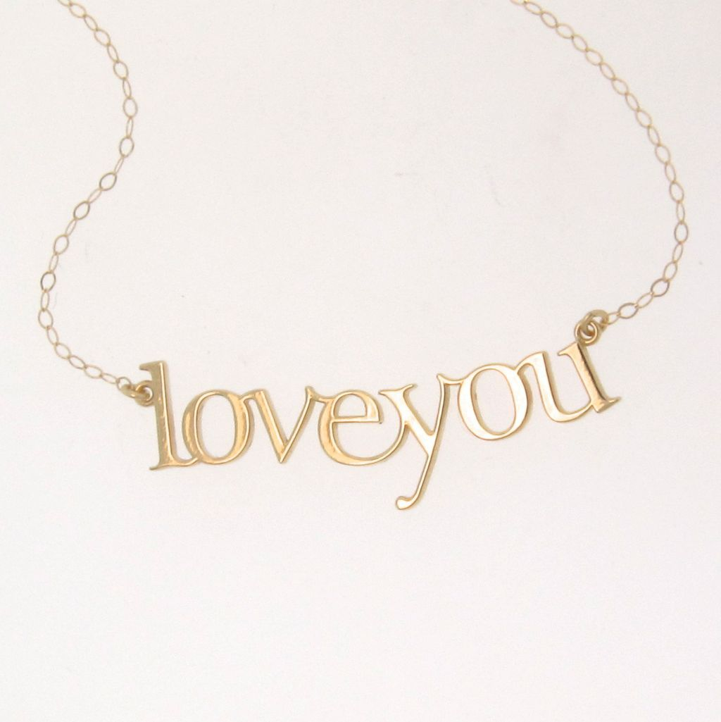 Love You Necklace - 14K Yellow Gold - Great Gift
