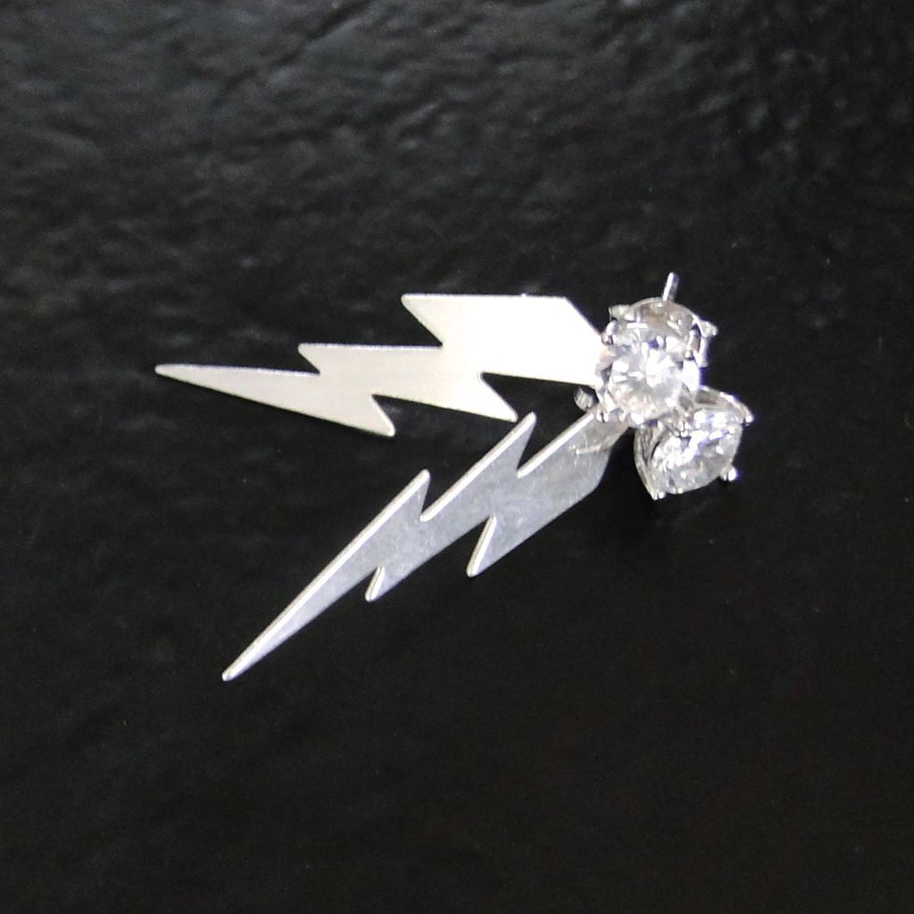Lightning Bolt Earring Studs With CZ - Exclusive Design By Theresa Mink