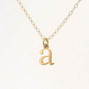 Tiny Lowercase Letter Necklace, Personalized Necklace,Your Initial Necklace - 14K SOLID Gold Ultra Feminine Initial Necklace by Theresa Mink