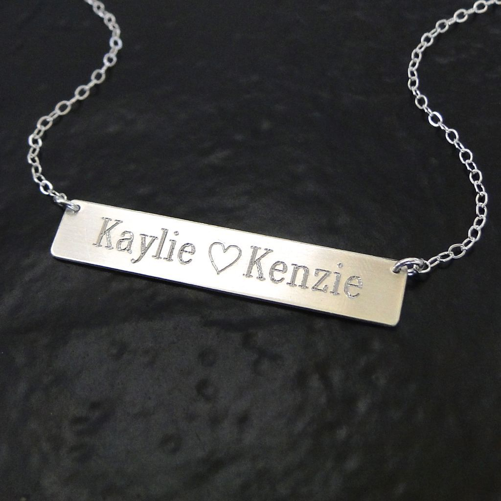 Will Engrave Sterling Silver Name Plate Necklace, As Seen on Kim Kardashian - Also Available As A Bracelet  Ask a Question