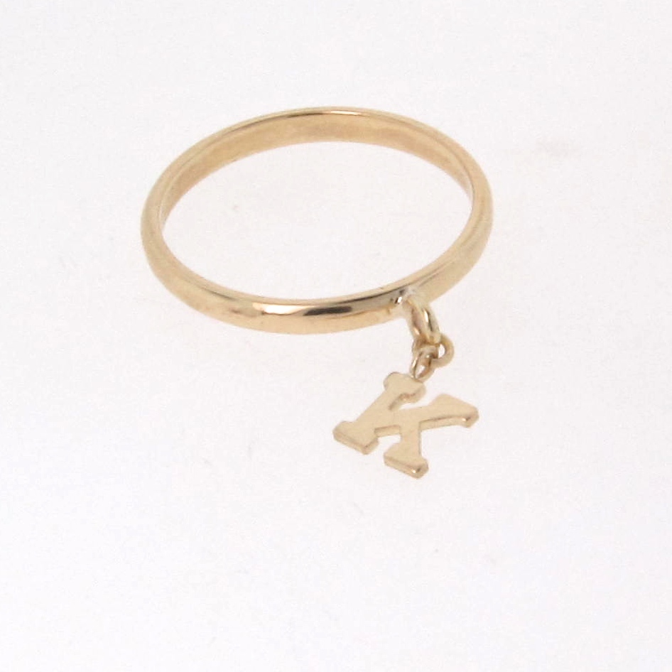14k gold initial ring personalized letter dangle charm for Gold ring models with letters