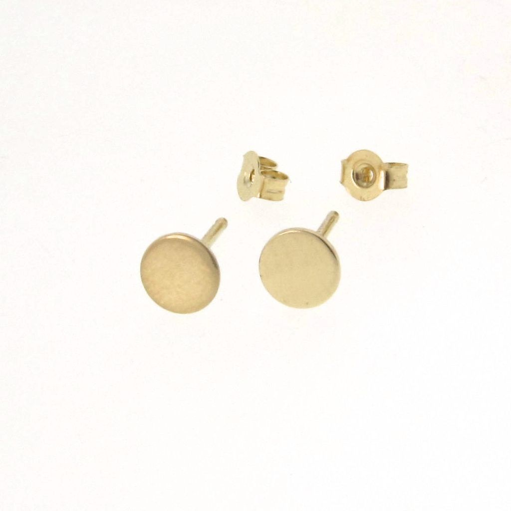Tiny Dot Stud Earrings 14k Gold Small Circle From