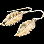 14K Gold Leaf Earrings - Detailed Leaf Drop Earrings