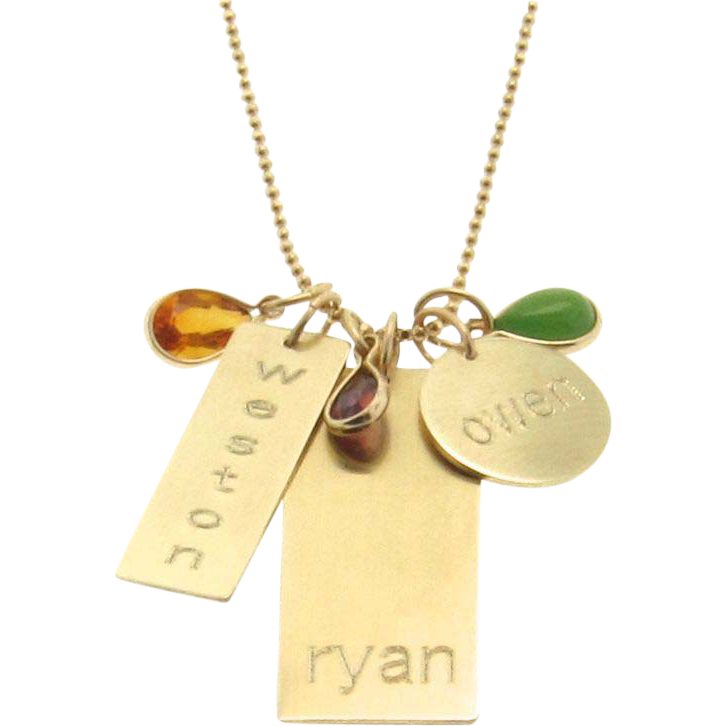 Engraved personalized 14k gold nameplate charm necklace names engraved personalized 14k gold nameplate charm necklace names birthdate initial tell your story aloadofball Images