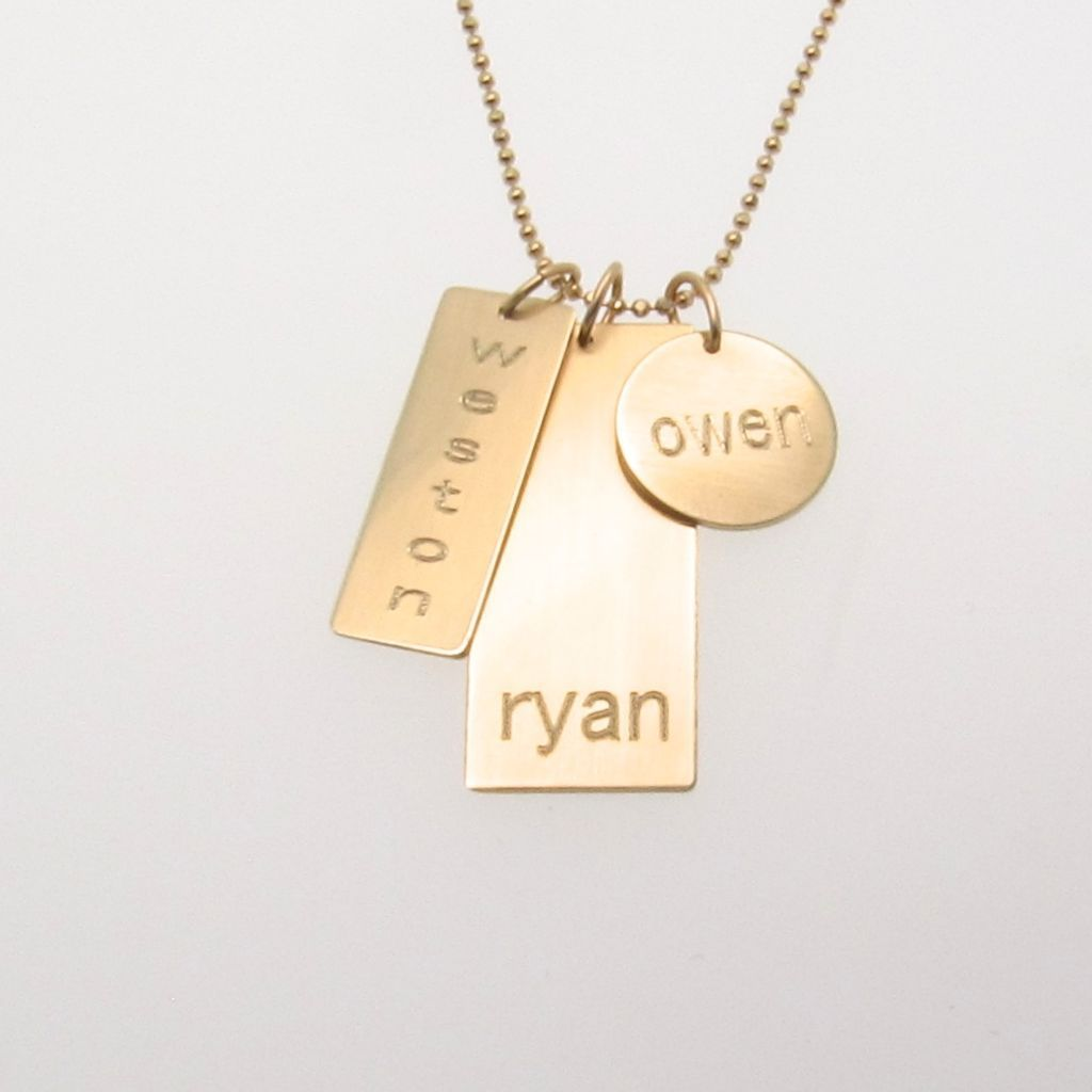 Engraved Personalized 14k GOLD Nameplate Charm Necklace ...