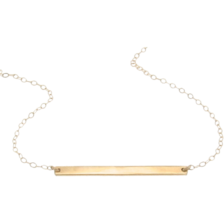 14K Gold Stick Necklace, Thin Horizontal Bar Necklace, Celebrity Style - Cameron Diaz