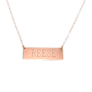 Engravable 14K Gold Nameplate Necklace, Yellow, White or Rose Gold Rectangle Bar Necklace, Name Plate Can Be Engraved